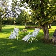 großer Garten mit Liegestühle